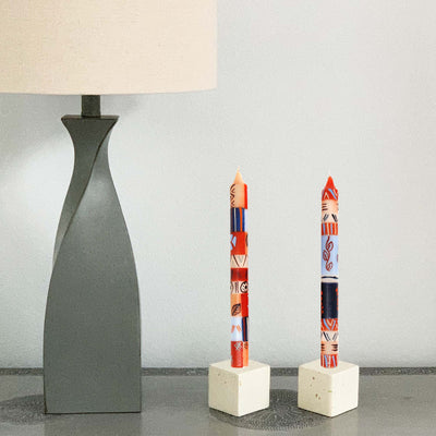 Hand-Painted Dinner Candles, Pair (Uzushi Design)