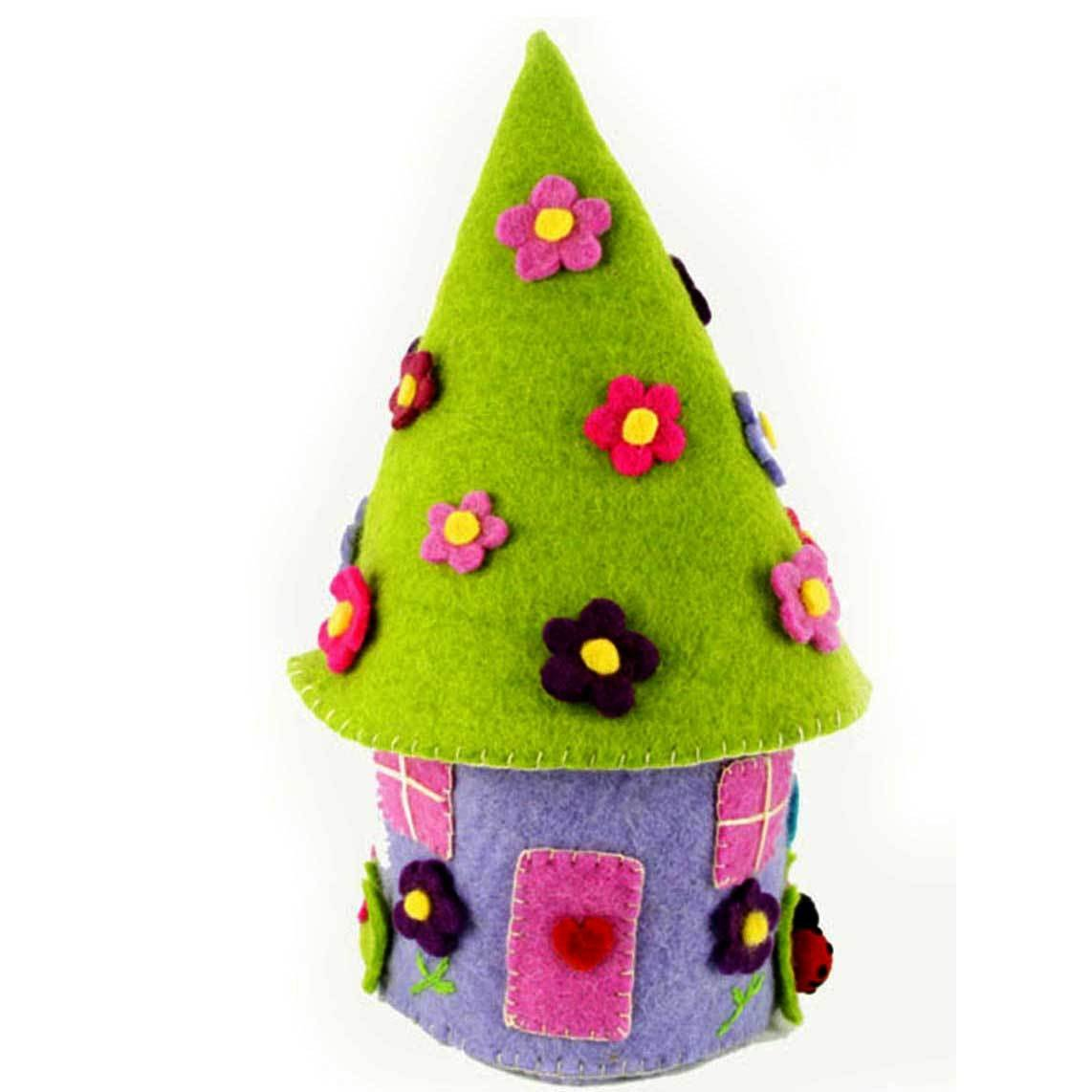 "Hand Crafted Felt from Nepal: Fairy Theme, 15"" Fairy House"