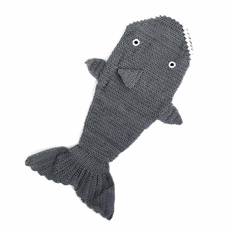Knit Shark Baby Swaddle - Handmade