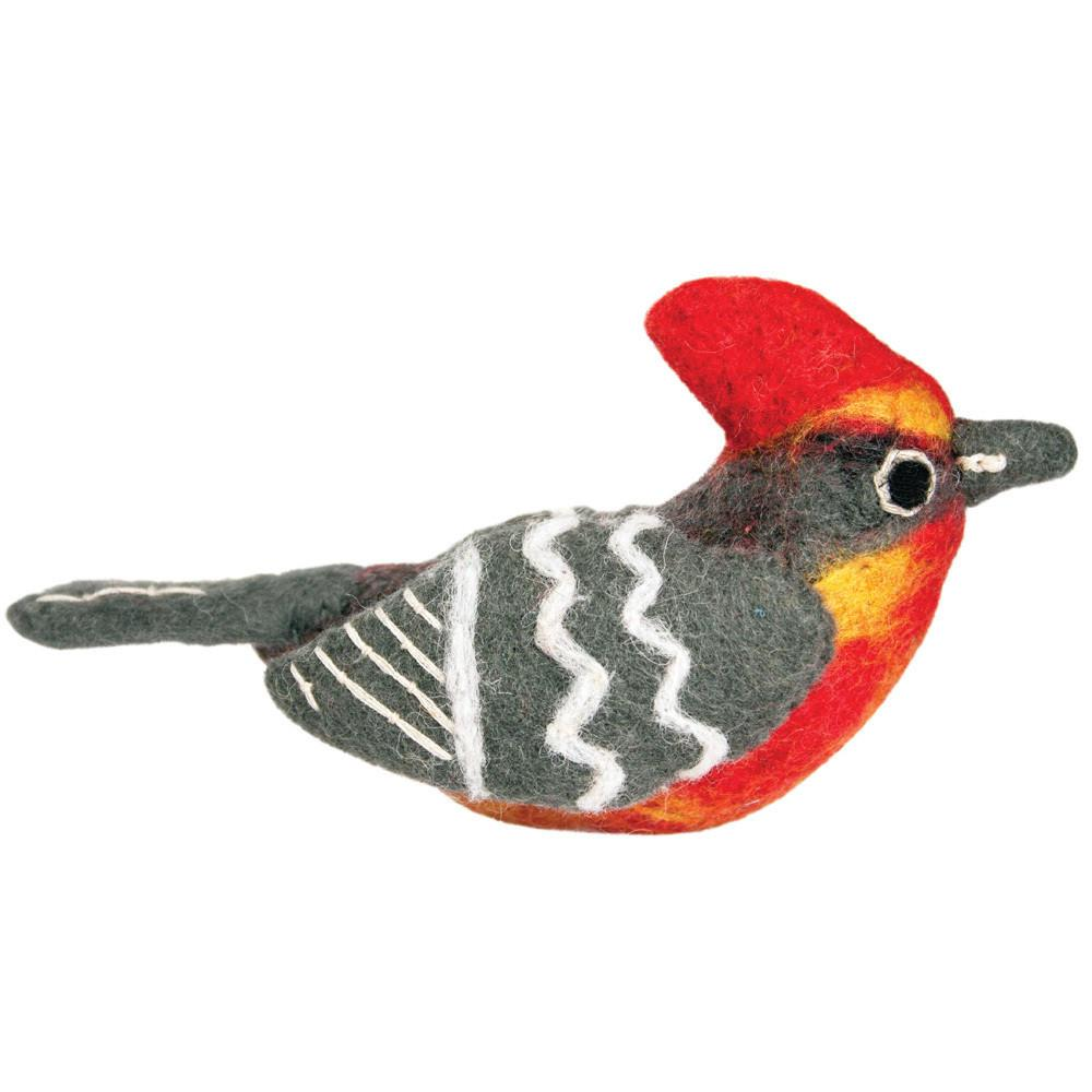 Wild Woolies Felt Bird Garden Ornament -  Vermillion Flycatcher