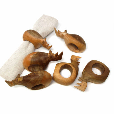 Mahogany Rhino Napkin Rings, Set of 6