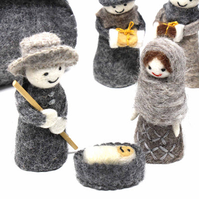 Hand Crafted Felt from Nepal: Felted Nativity Set
