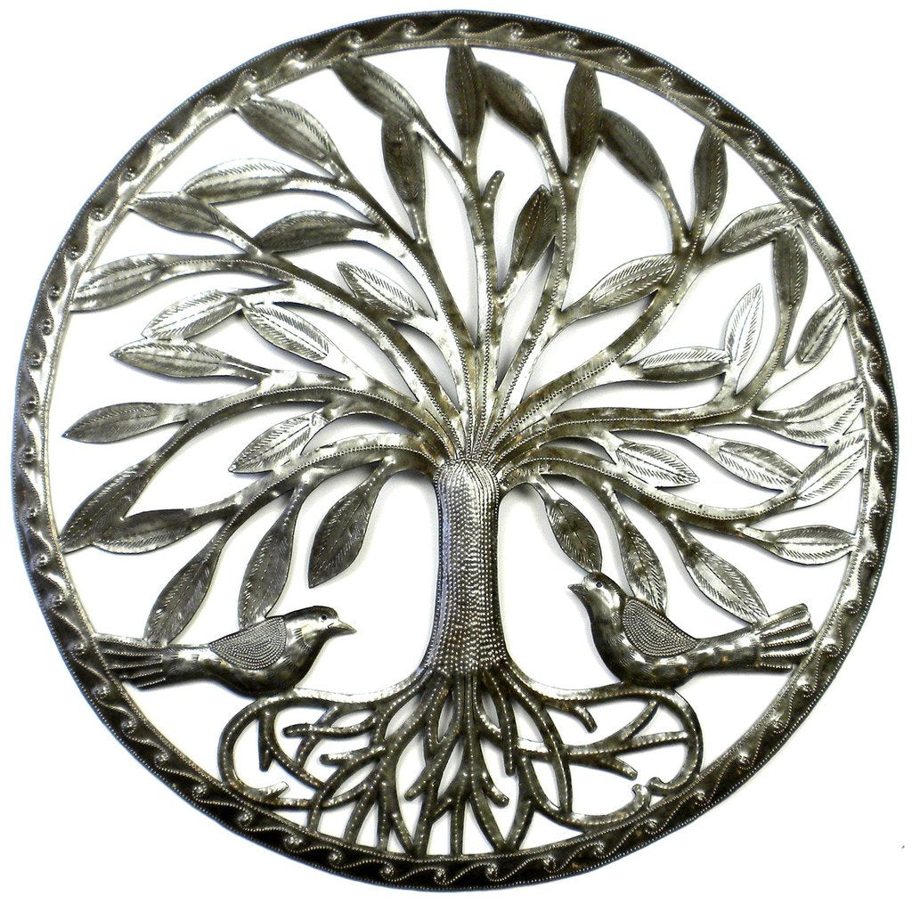 Tree of Life with Two Birds Ringed Haitian Metal Drum Wall Art, 23""