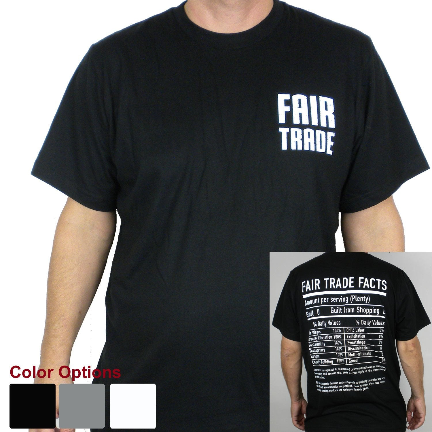 Black Unisex Tee Shirt Small FT Front - FT Facts on Back - Small