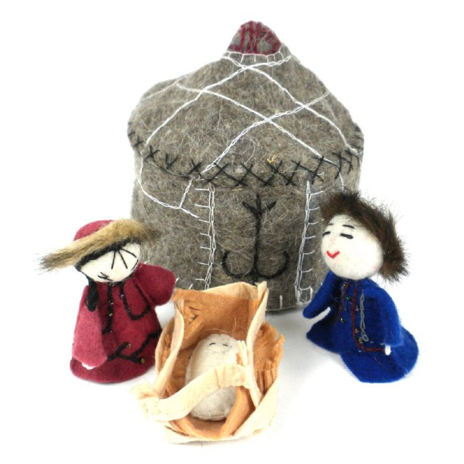 Felt Yurt Nativity - Natural Brown