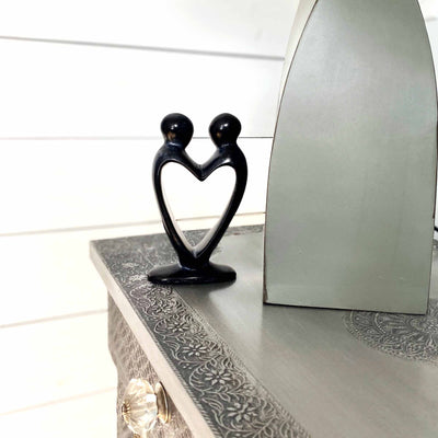 Lover's Heart Soapstone Sculptures, Black Finish