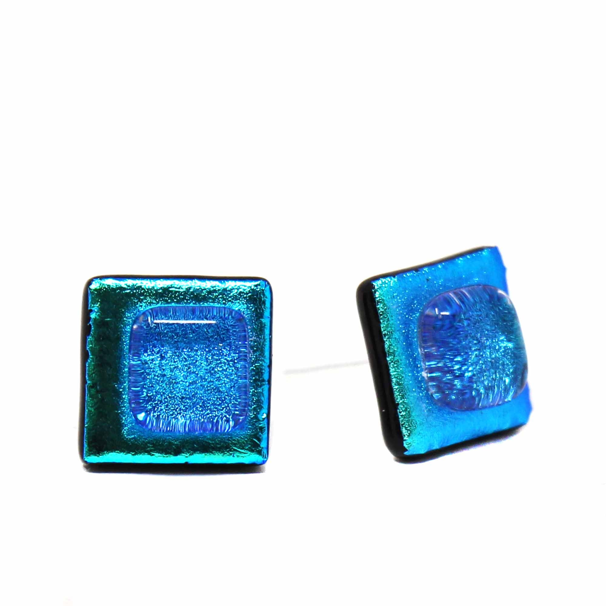 Square Glass Stud Earrings, Turquoise & Teal - Pack of 3