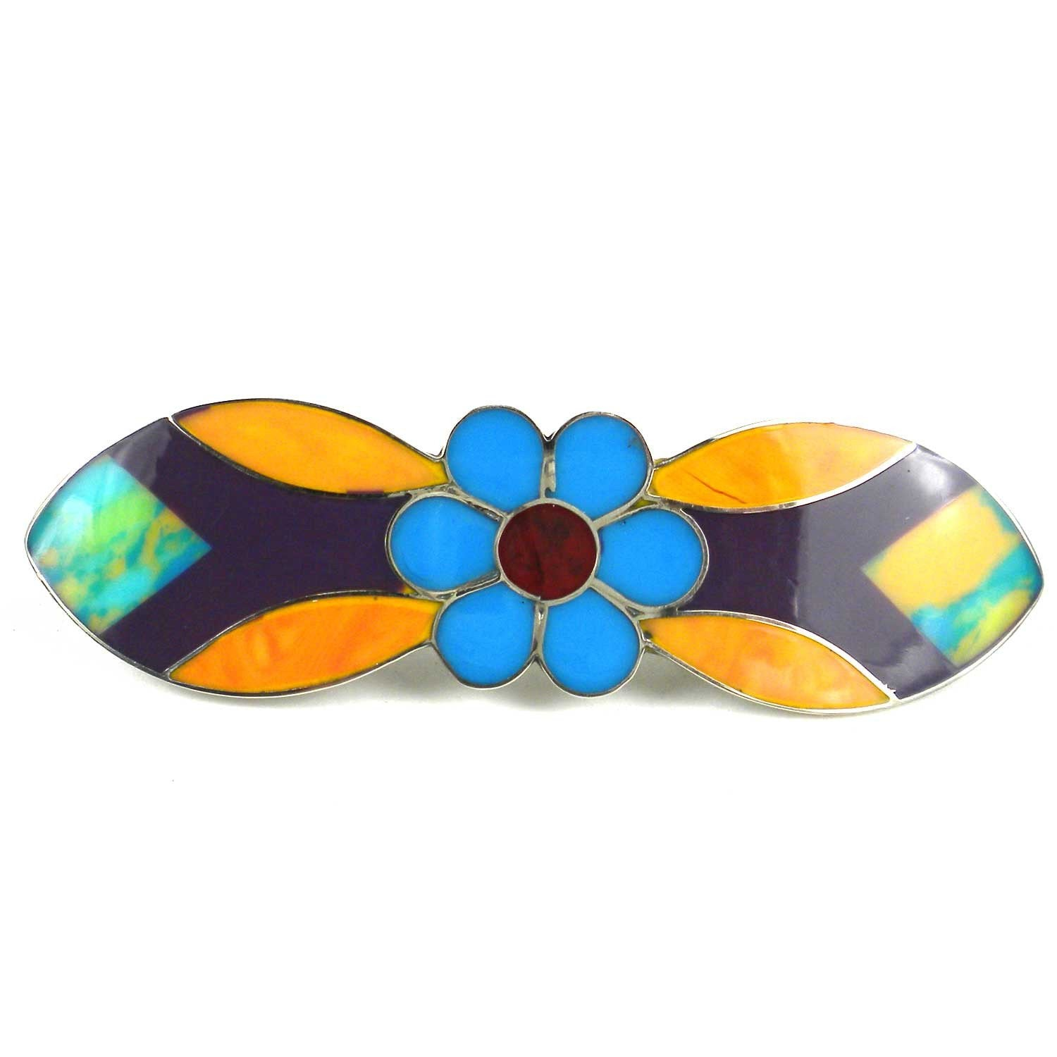 Alpaca Silver and Resin Flower Barrette