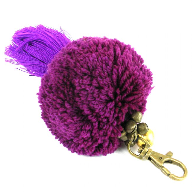 Boho Keychain Collection Uber Pom Pom, Violet