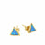 Gold and Blue Opal Triangle Stud Earrings
