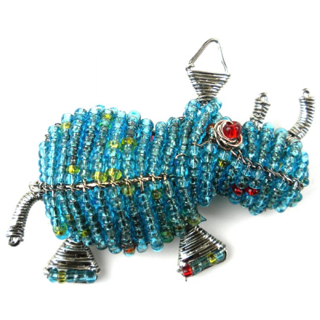 Beaded Rhino Pin - Colors Vary