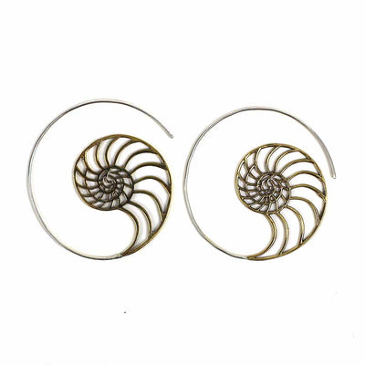 Brass Mermaid's Call Spiral Earrings