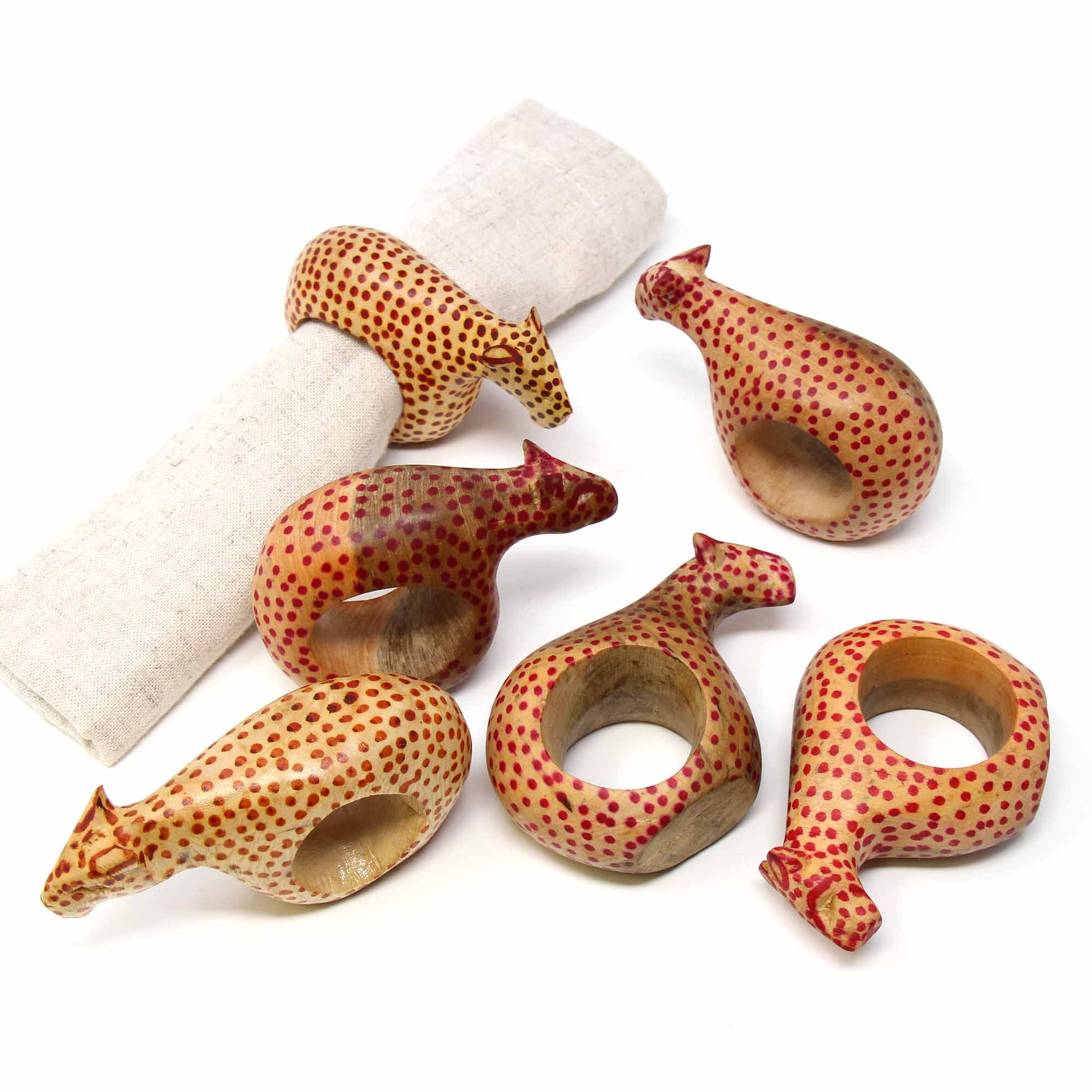 Mahogany Cheetah Napkin Rings, Set of 6