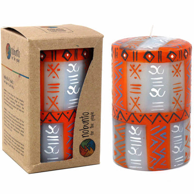 Hand-Painted Pillar Candle in Gift Box, 4-inch (Kukomo Design)