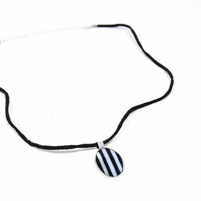 Abalone and Black Stripe Pendant Necklace