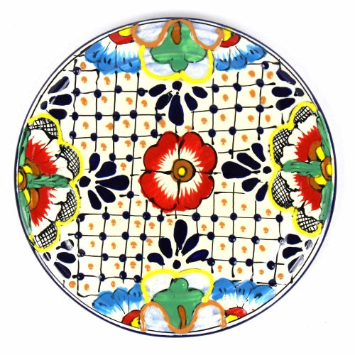 "Encantada Handmade Pottery 8"" Trivet or Wall Hanging, Dots & Flowers"