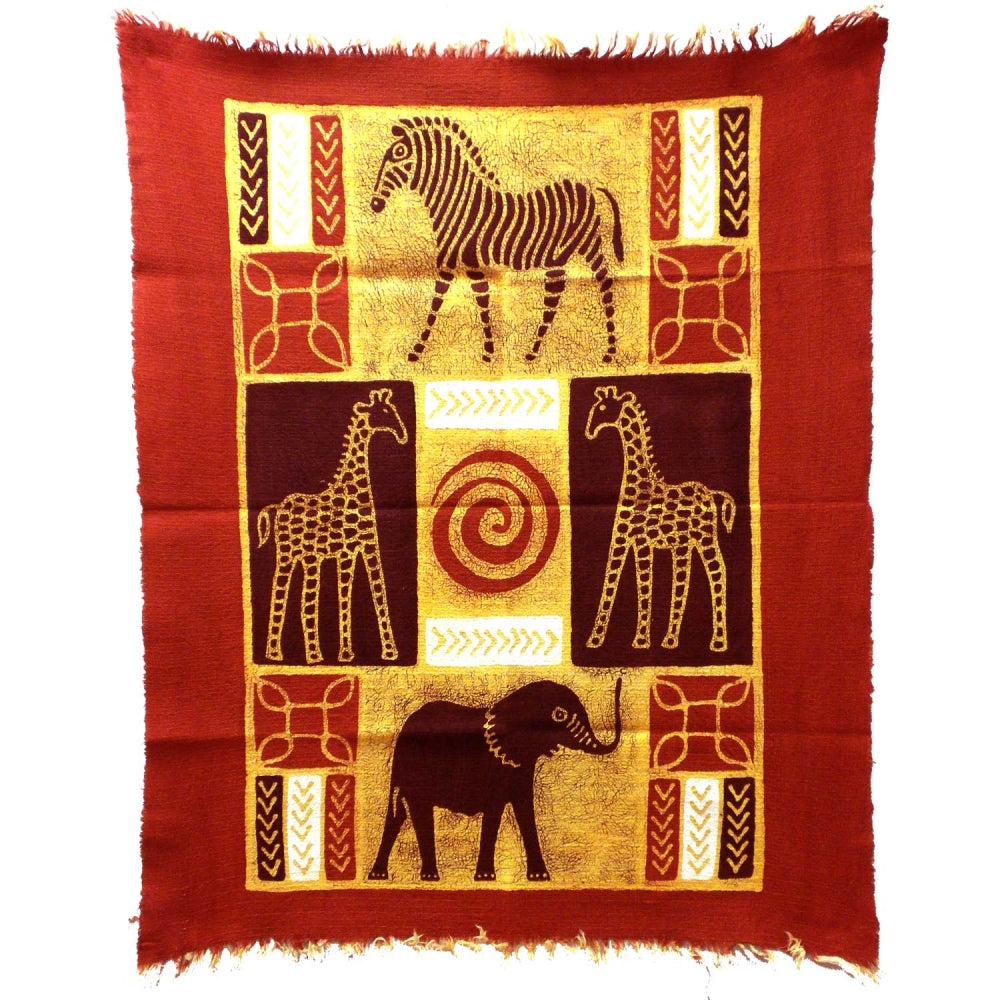 Four African Animals Batik - Red/Maroon
