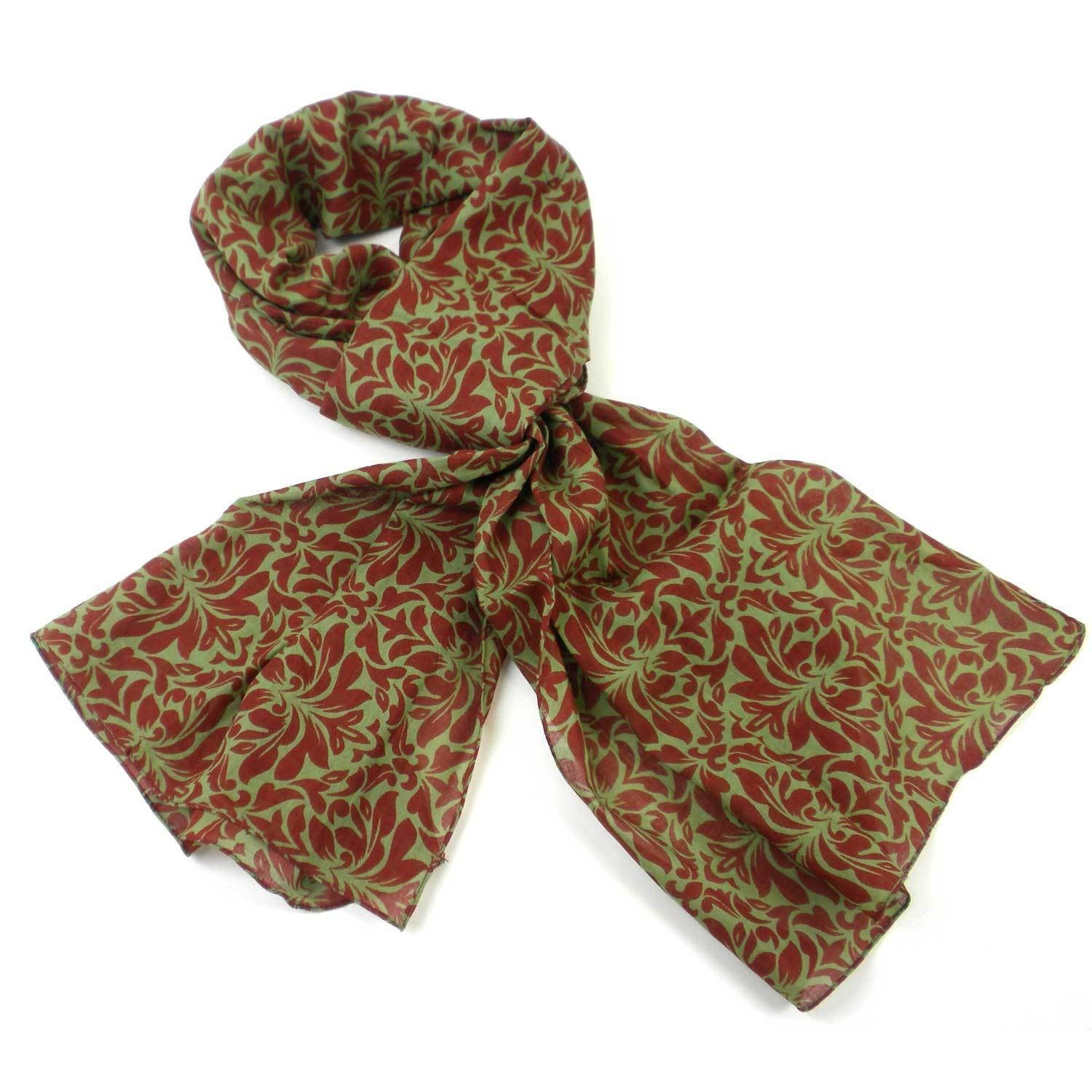 Olive Floral Cotton Scarf