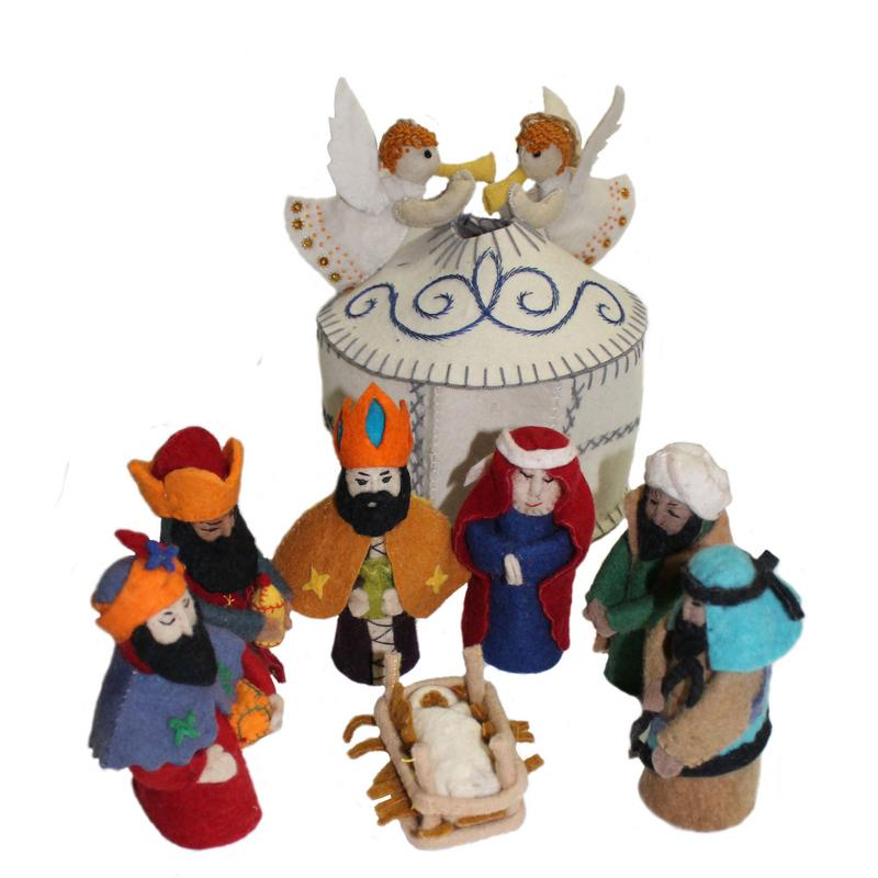 Angel Topped Wool Nativity Set in White
