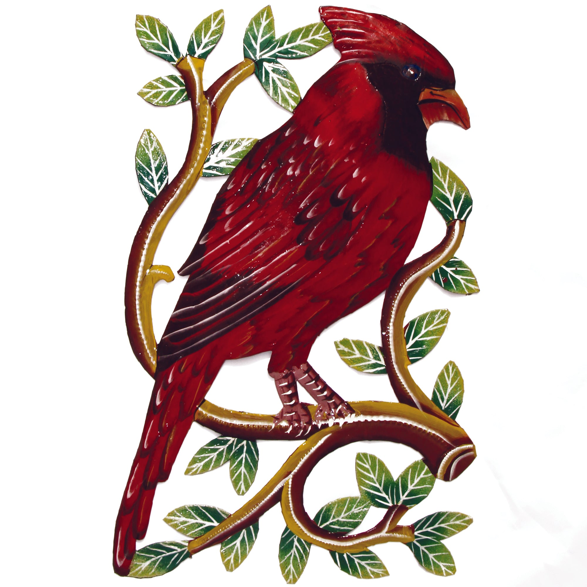 "Cardinal Bird on Branch Painted Haitian Metal Drum Wall Art (13"" x 8"")"