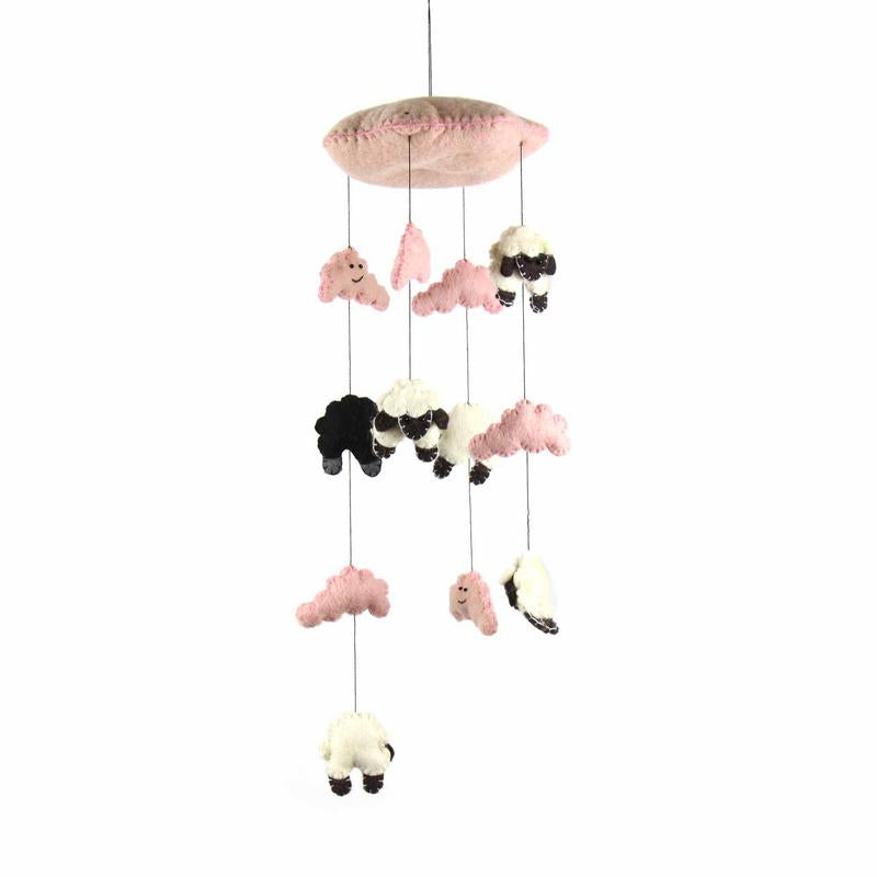 Hand Crafted Felt from Nepal: Mobile, Pink Counting Sheep