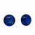 Round Glass Stud Earrings, Dark Blue - Pack of 3