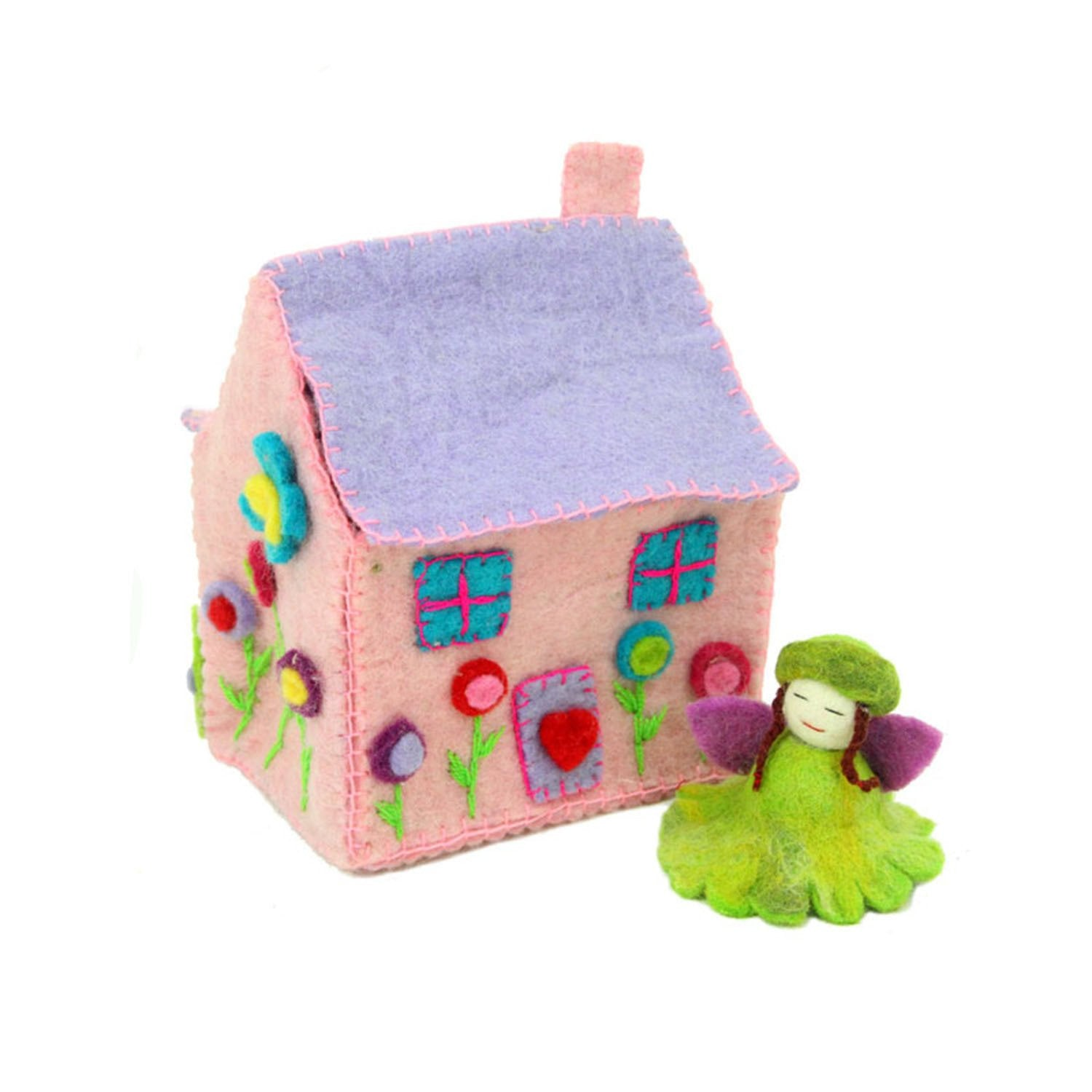Handcrafted Pink Felt Fairy House