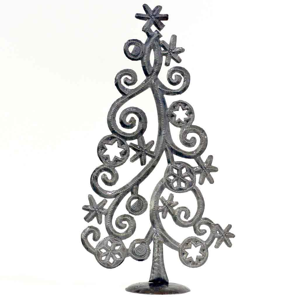 "Christmas Tree with Stars & Snowflakes Haitian Metal Drum Tabletop Décor (14"" x 7.5"")"