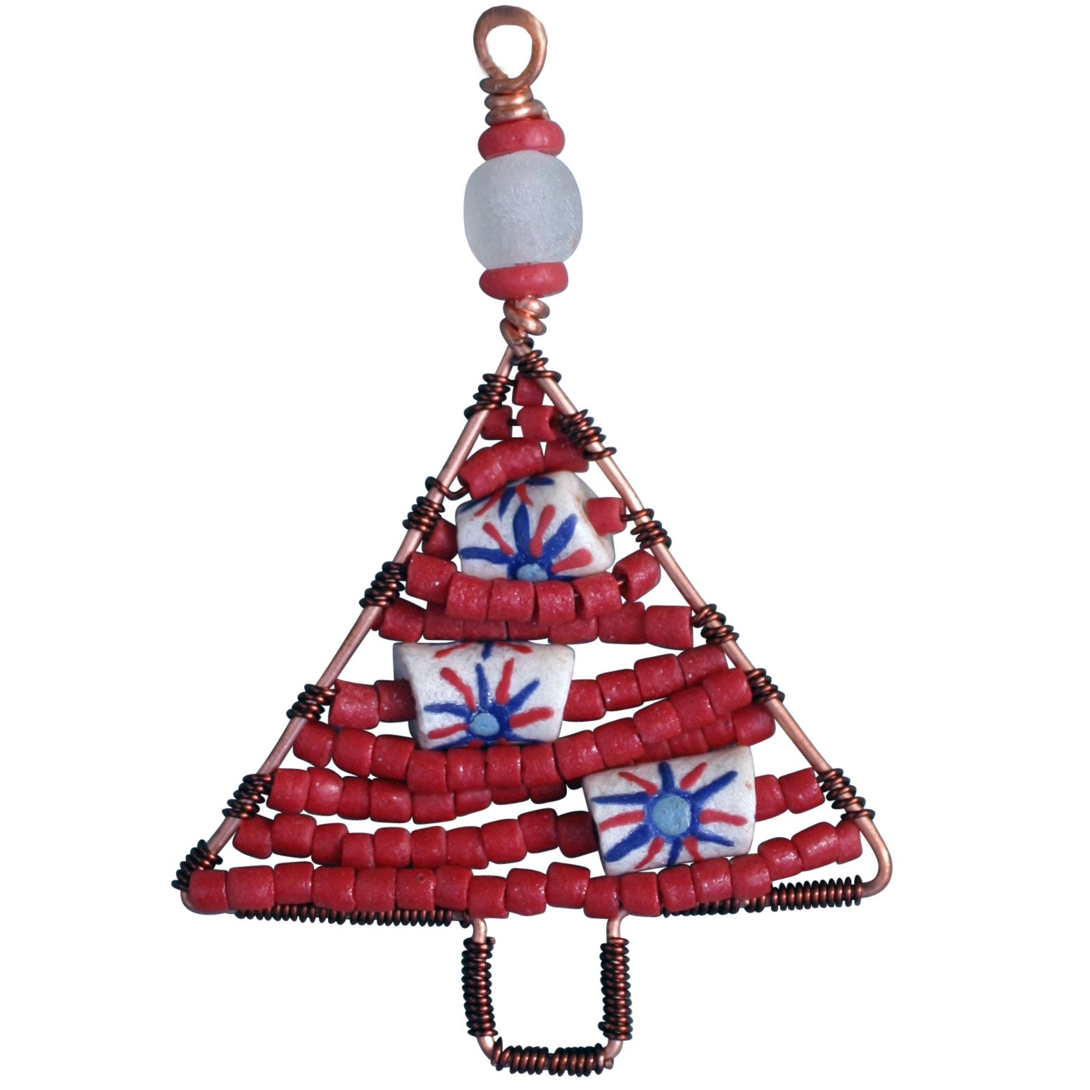 Beaded Tree Ornament Red