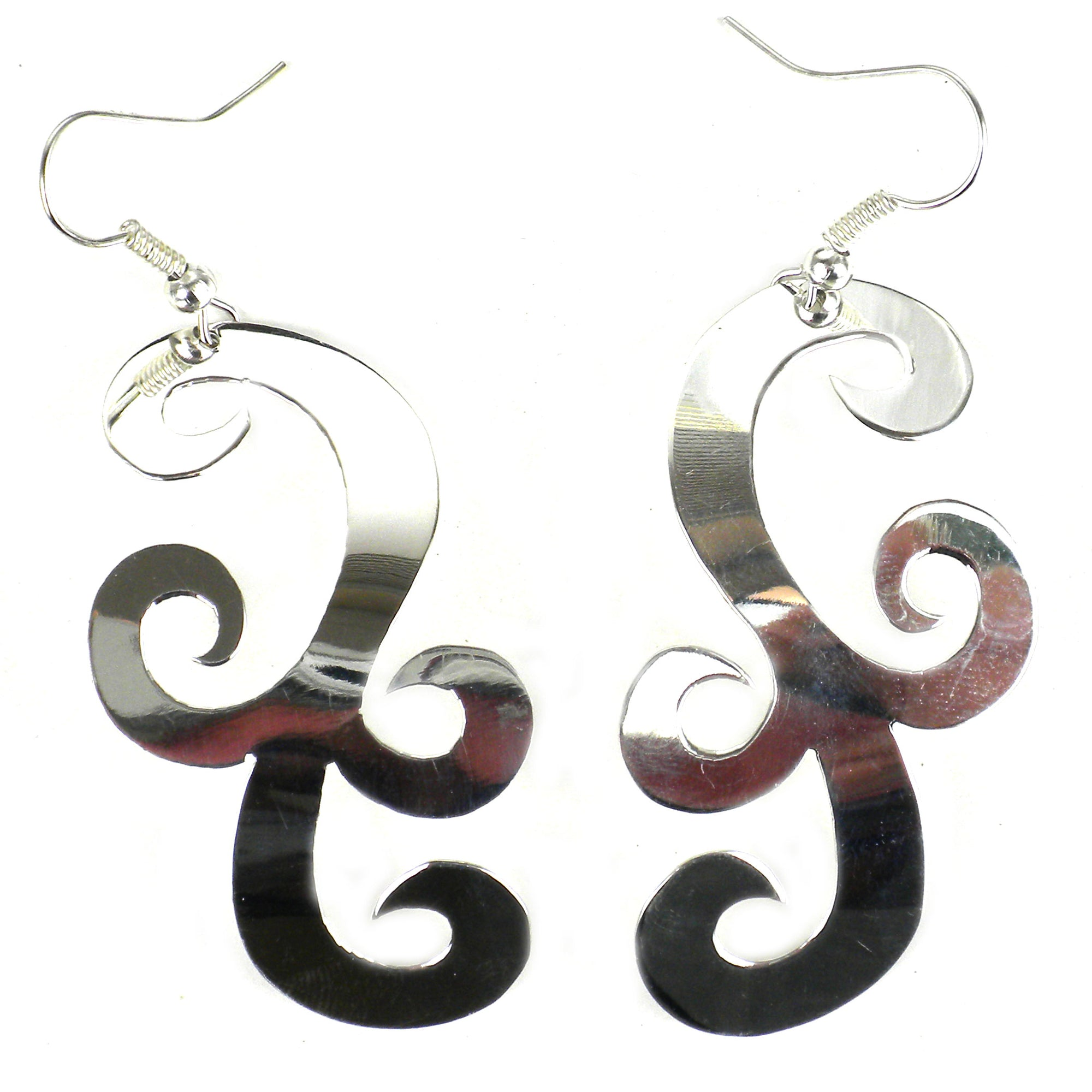 Large Silver-plated Scroll Earrings