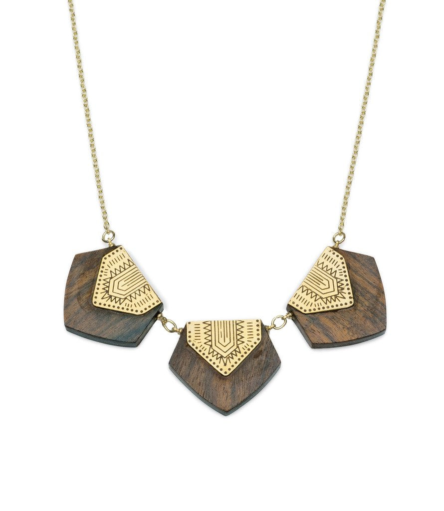 Durga Shield Trio Necklace - Gold