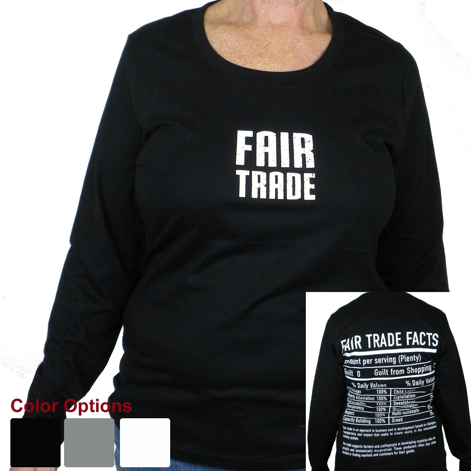 Gray Tee Shirt Long Sleeve Small FT Front - FT Facts on Back - Large