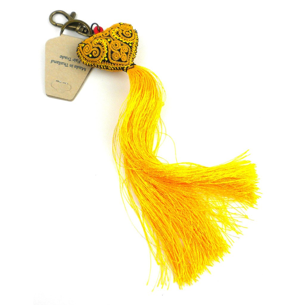 Boho Keychain Collection Heart Tassel, Yellows