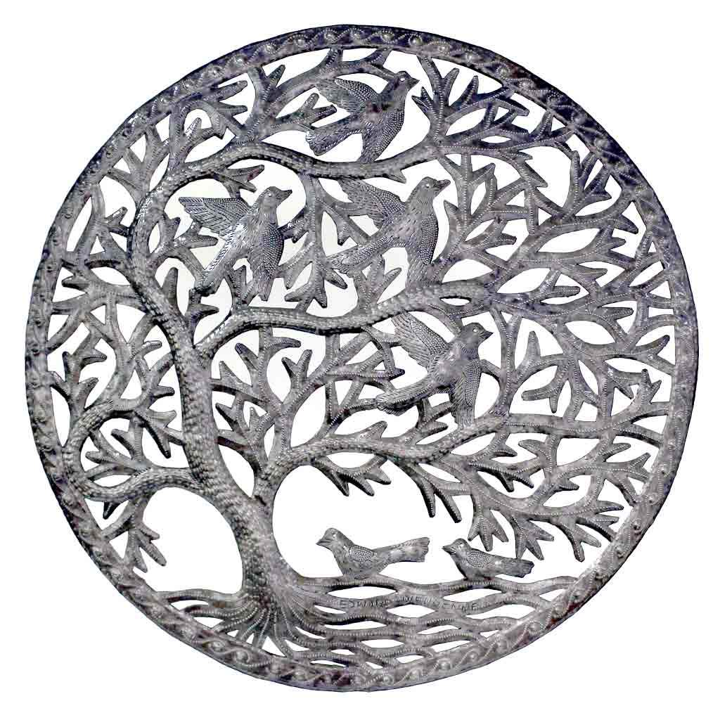 Stormy Tree of Life Ringed Haitian Metal Drum Wall Art, 24""