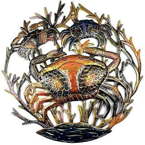 CLEARANCE Three Crabs Nautical Haitian Metal Drum Wall Art, 24""