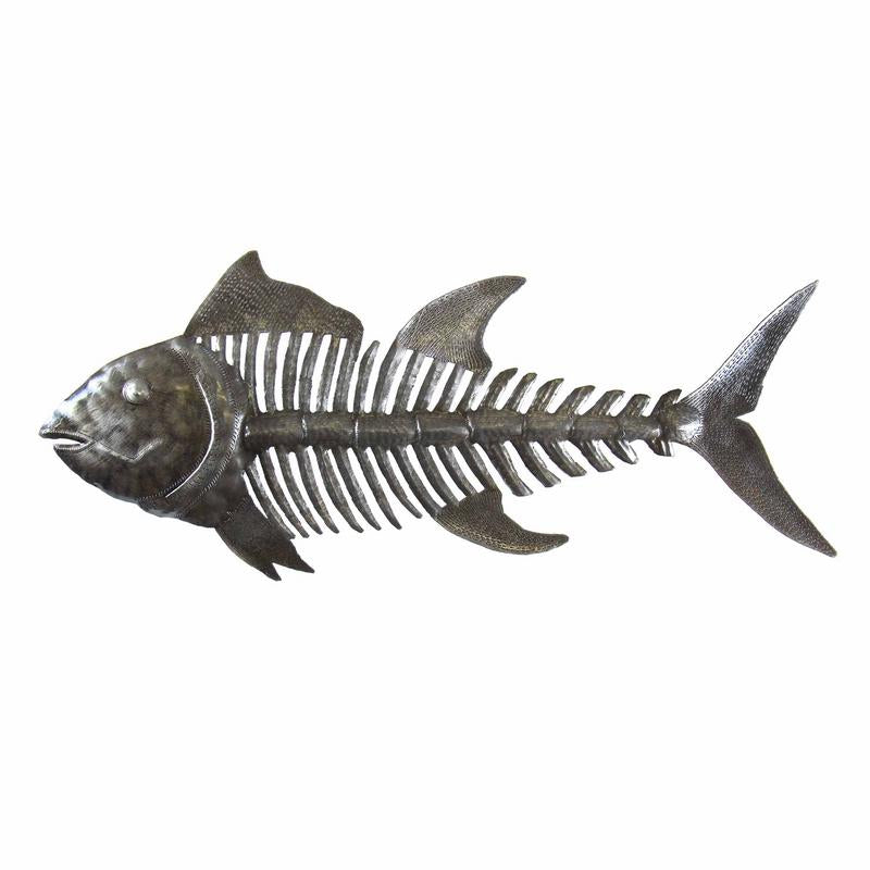 "Fish Bones Nautical Haitian Metal Drum Wall Art (24"" x 10"")"