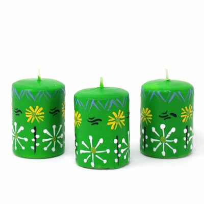 Hand-Painted Green Votive Candles, Boxed Set of 3 (Masika Design)