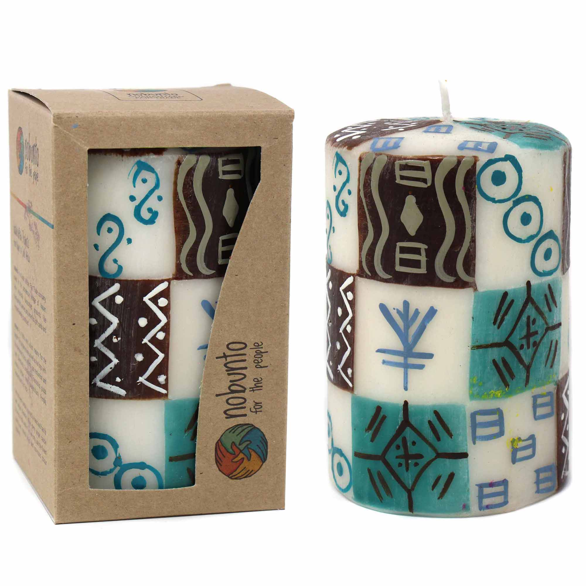 Hand-Painted Pillar Candle in Gift Box, 4-inch (Maji Design)