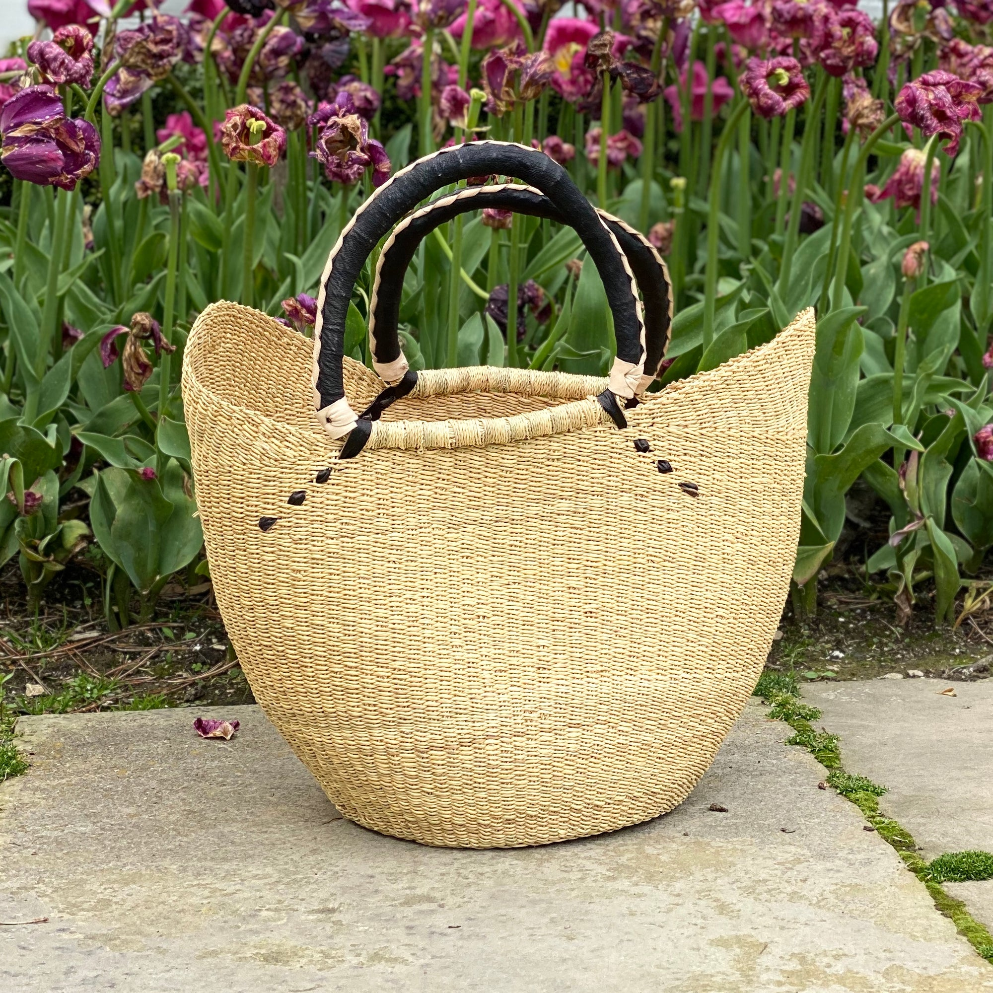 Bolga Tote, Natural with Black Accent and Leather Handle