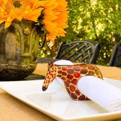 Mahogany Giraffe Napkin Rings, Set of 6
