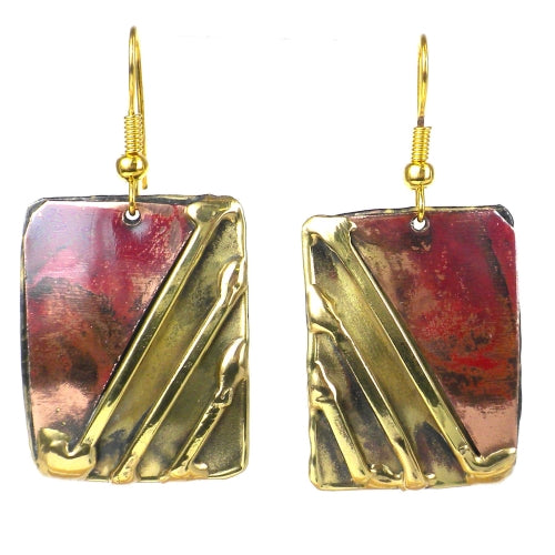 Lines Drawn Brass and Copper Earrings