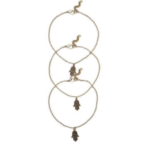 Hamsa Anklets -Set of Three
