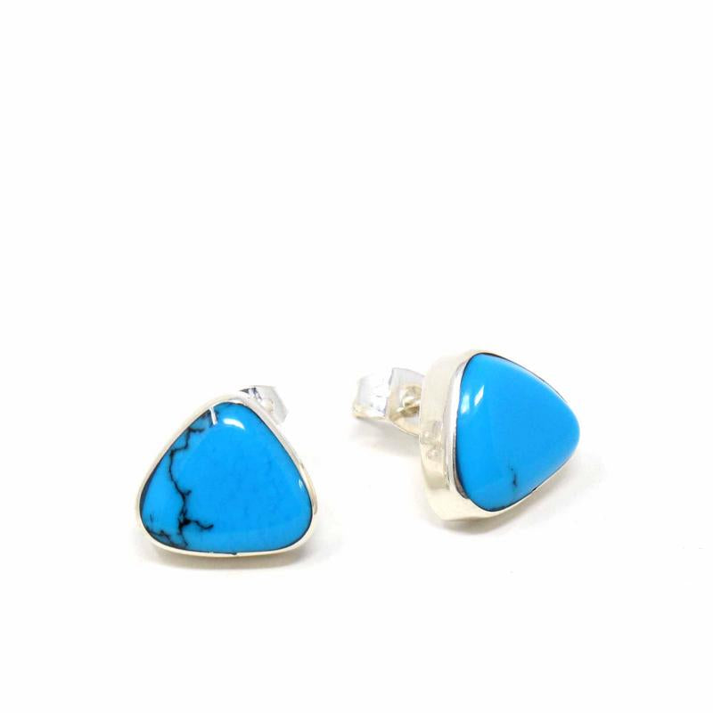Mexican Taxco Sterling Silver Turquoise Triangle Earrings