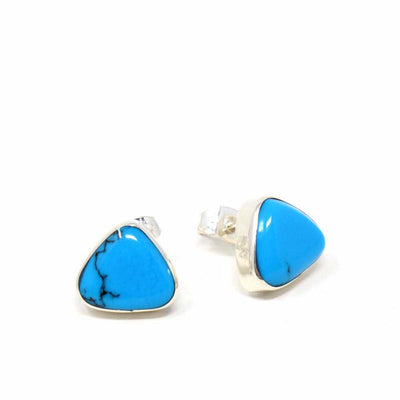 Sterling Silver Turquoise Triangle Stud Earrings