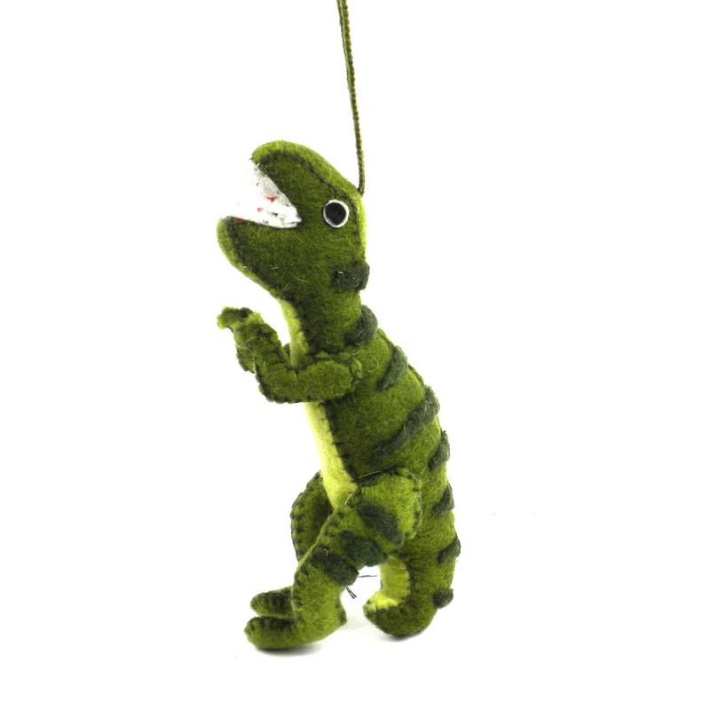 Felt Green T-Rex Ornament