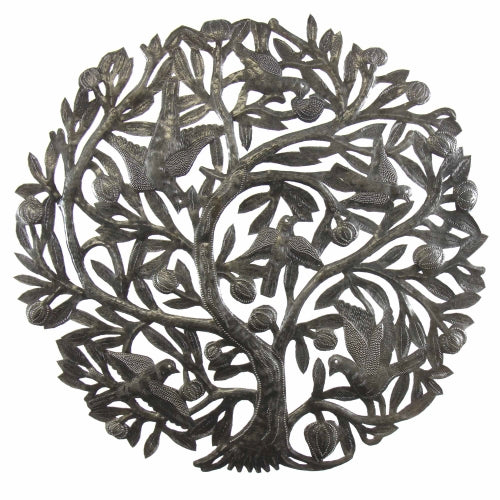 Tree of Life Metal Drum Art Wall Hanging - Buds