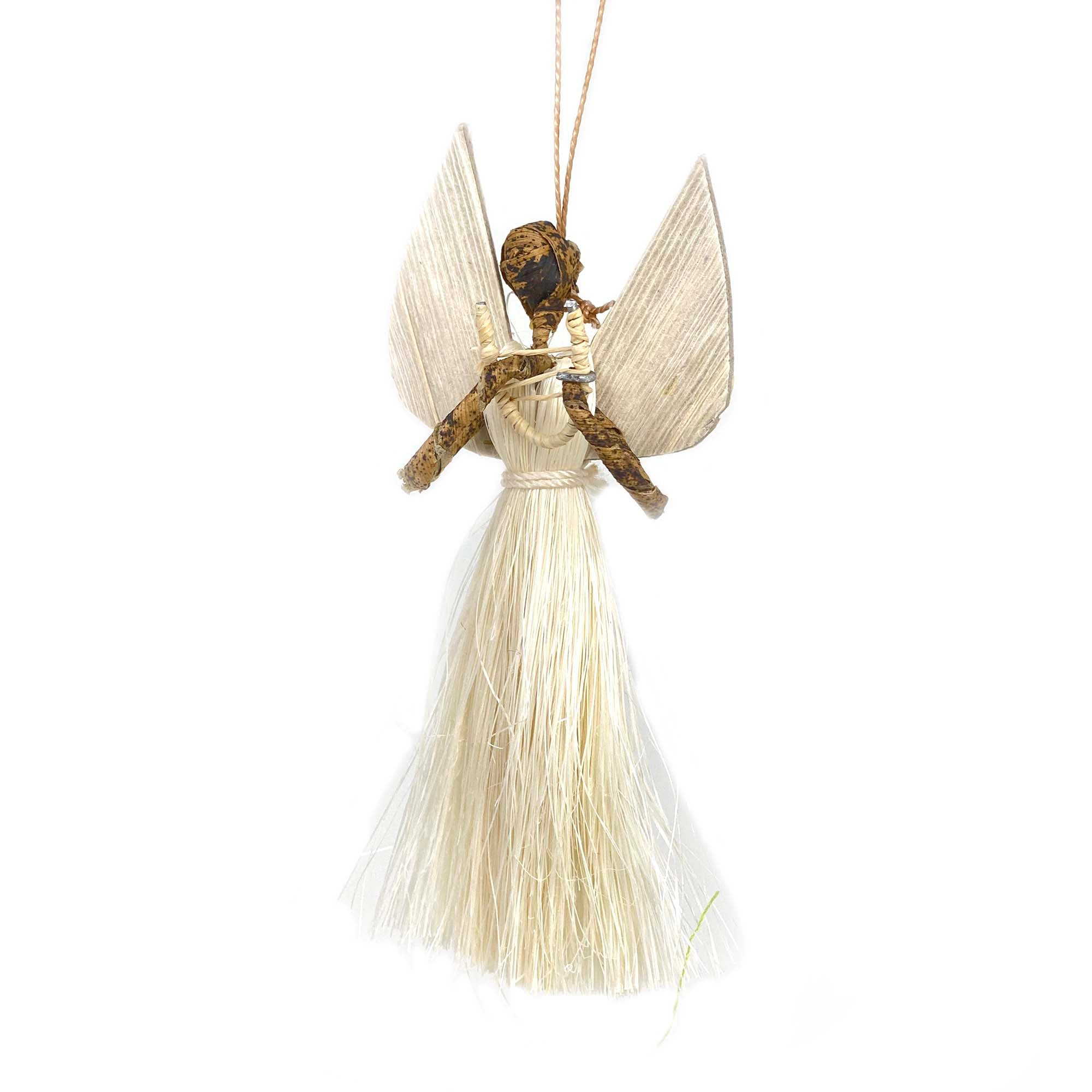 3.5 inch Sisal Angel Ornament - Harp