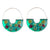 Pressed Flower Green Basket Hoop Earrings
