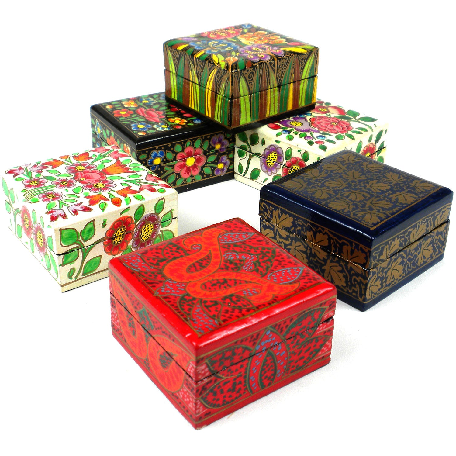 Six Wood Mini Square Hand-Painted Boxes