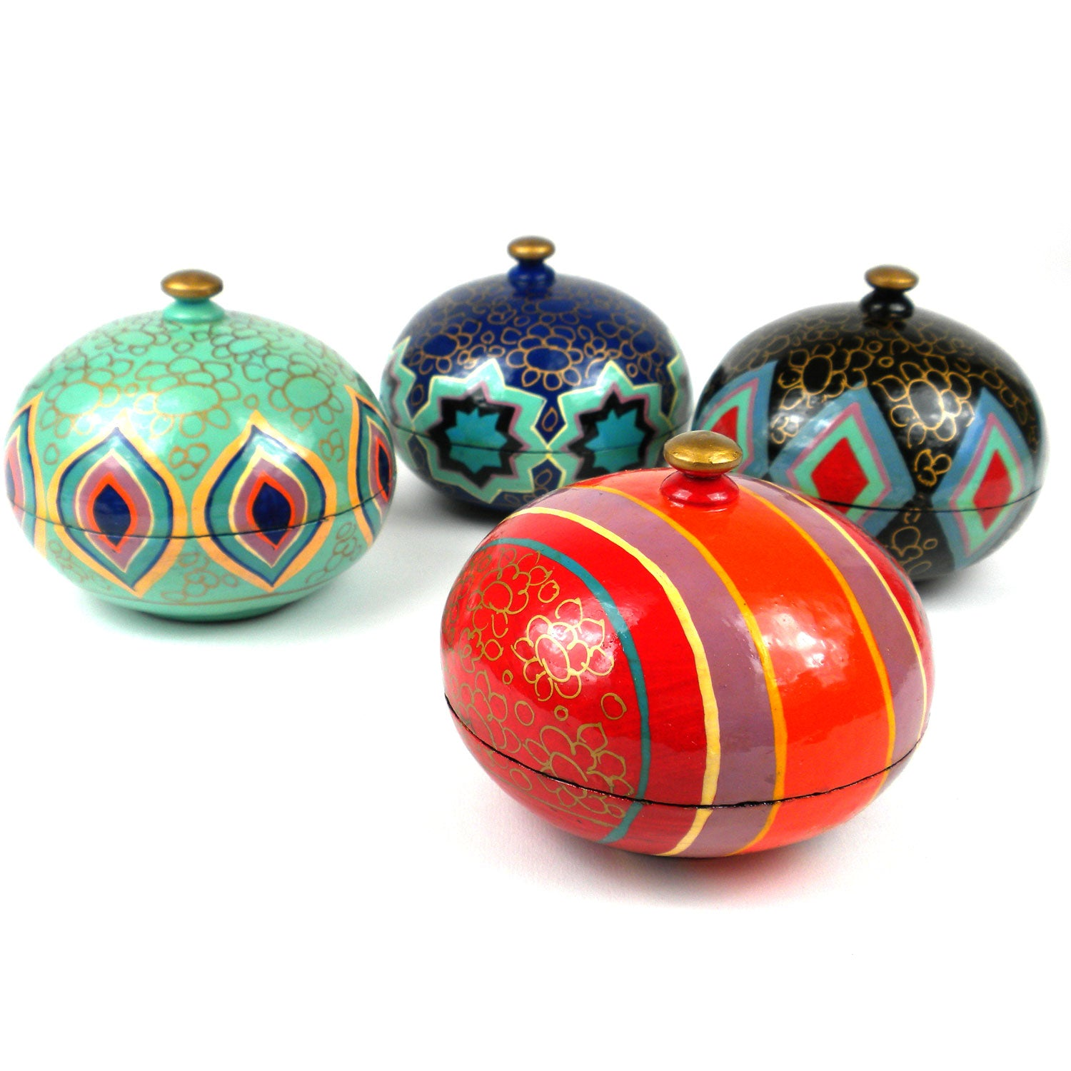 Kashmiri Hand Painted Papier Mache Boxes- Set of 4